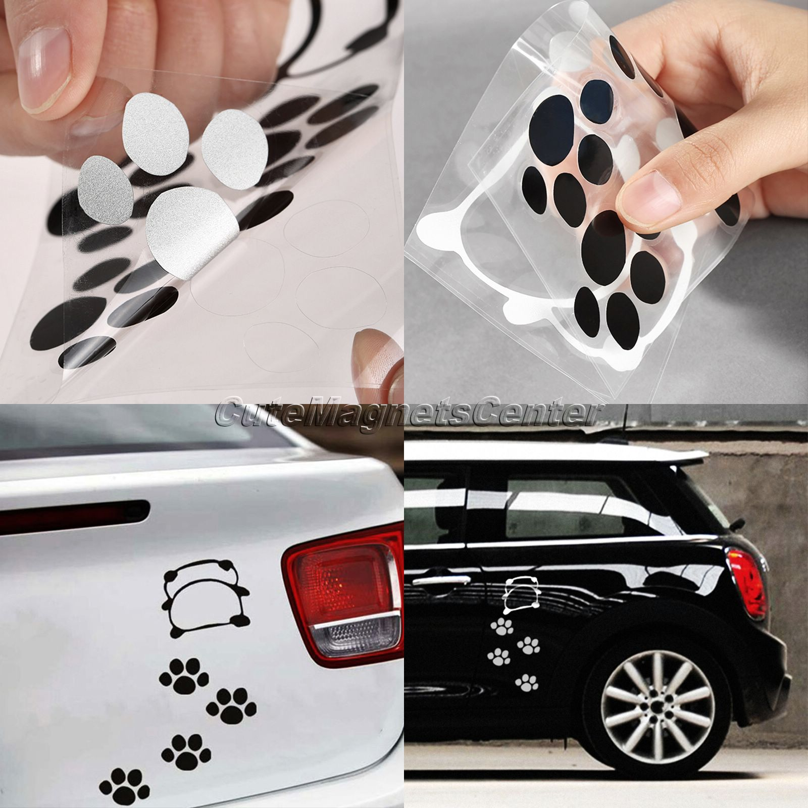 Car Sticker Lovely Naughty Panda Footprint Decals Cartoon Bear Dog Paw Styling DIY Stickers Reflective Waterproof Decal Stickers