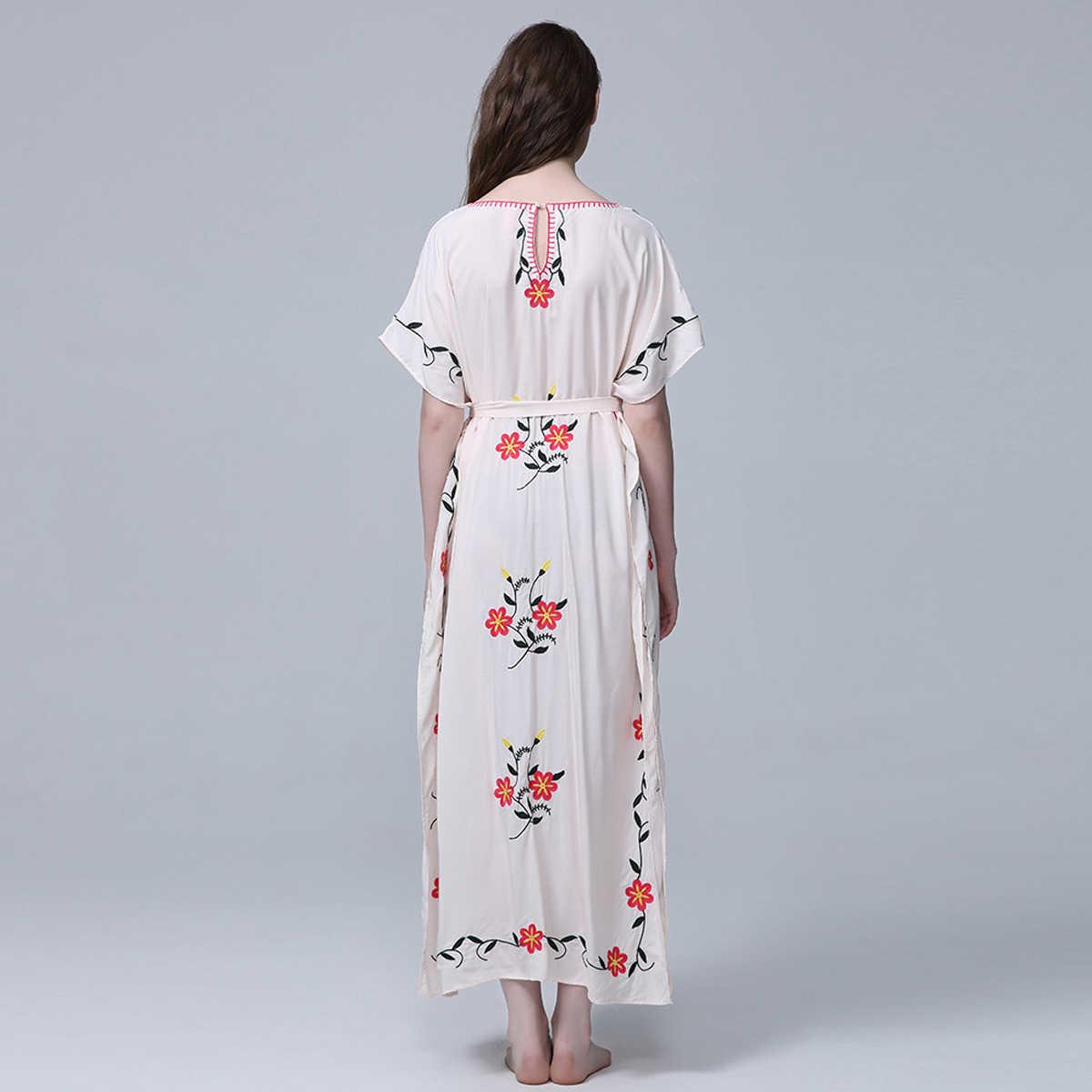 db3b50d5efe54 Jastie Boho Floral Embroidered Kaftan Women Dress V-Neck with Tassels  Summer Dress Oversized Batwing Sleeve Swimsuit Beach Dress