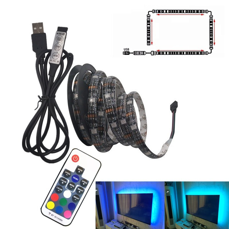 <font><b>USB</b></font> LED Strip <font><b>5050</b></font> RGB Flexible LED Light DC5V RGB Color Changeable TV Background Lighting image