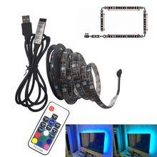 Tira de led usb, luz de led flexível rgb 5050 dc5v cor alternável iluminação de fundo de televisão
