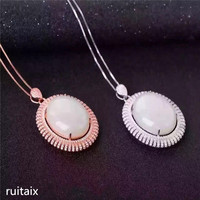 KJJEAXCMY boutique jewels 925 sterling silver inlaid natural hetian jade female pendant + necklace jewelry drop fluid curve pro