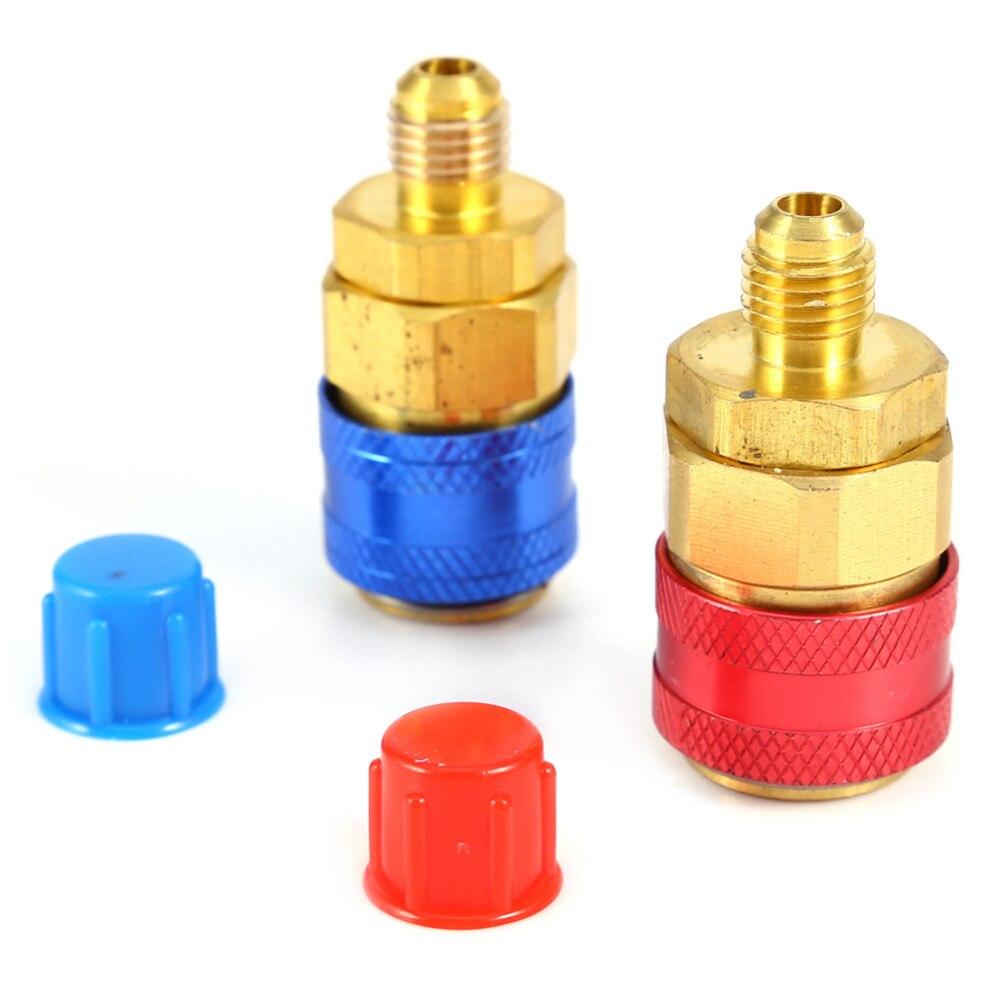 1 paar Auto Schnell Koppler Stecker Messing Adapter R134A H/L Klimaanlage Kältemittel Einstellbare AC Manifold Gauge