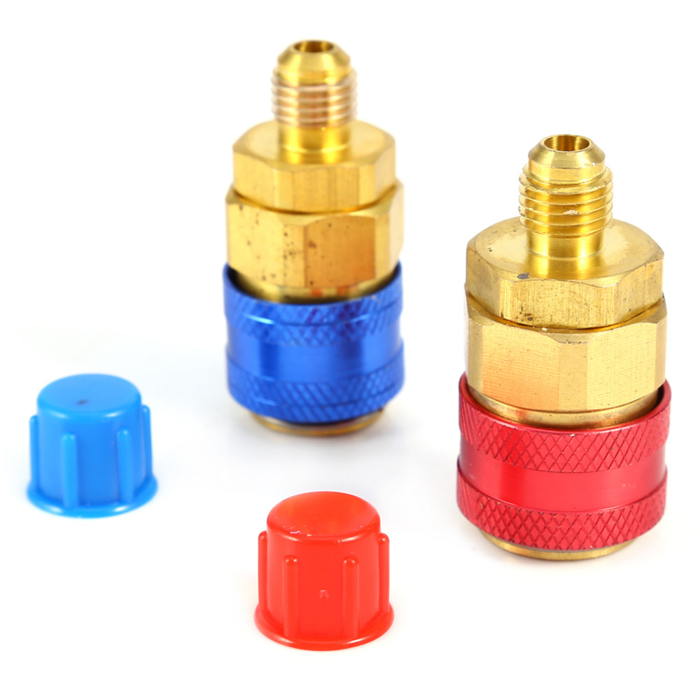 1Pair Car Quick Coupler Connector Brass Adapters Freon R134A H/L Air Conditioning Refrigerant Adjustable AC Manifold Gauge fixmee 2pcs car auto freon r134a h l quick coupler adapters air conditioning refrigerant adjustable a c manifold gauge set