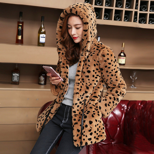 Leopard Color Natural Rex Rabbit Fur Coats Outerwear Women Hooded Drawstring Slim Waist Winter Real Fur Leather Jackets 2 Styles