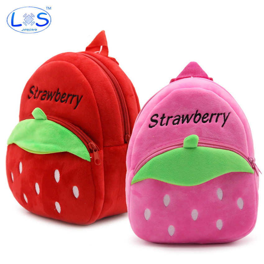 (LONSUN)Strawberry Plush Backpack stuffed & plush 2 Colors Kids Plush Backpack Toys Office supplies Childrens Gifts