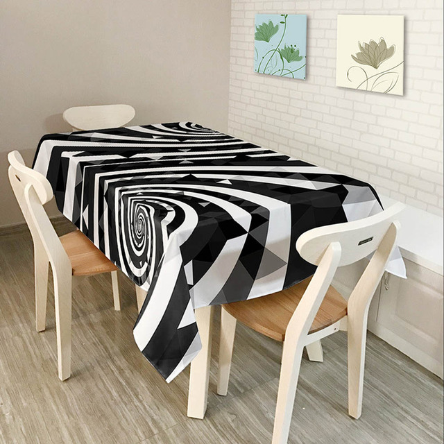 new multi size modern fashion black white stripes table cloth polyester waterproof rectangle table cover