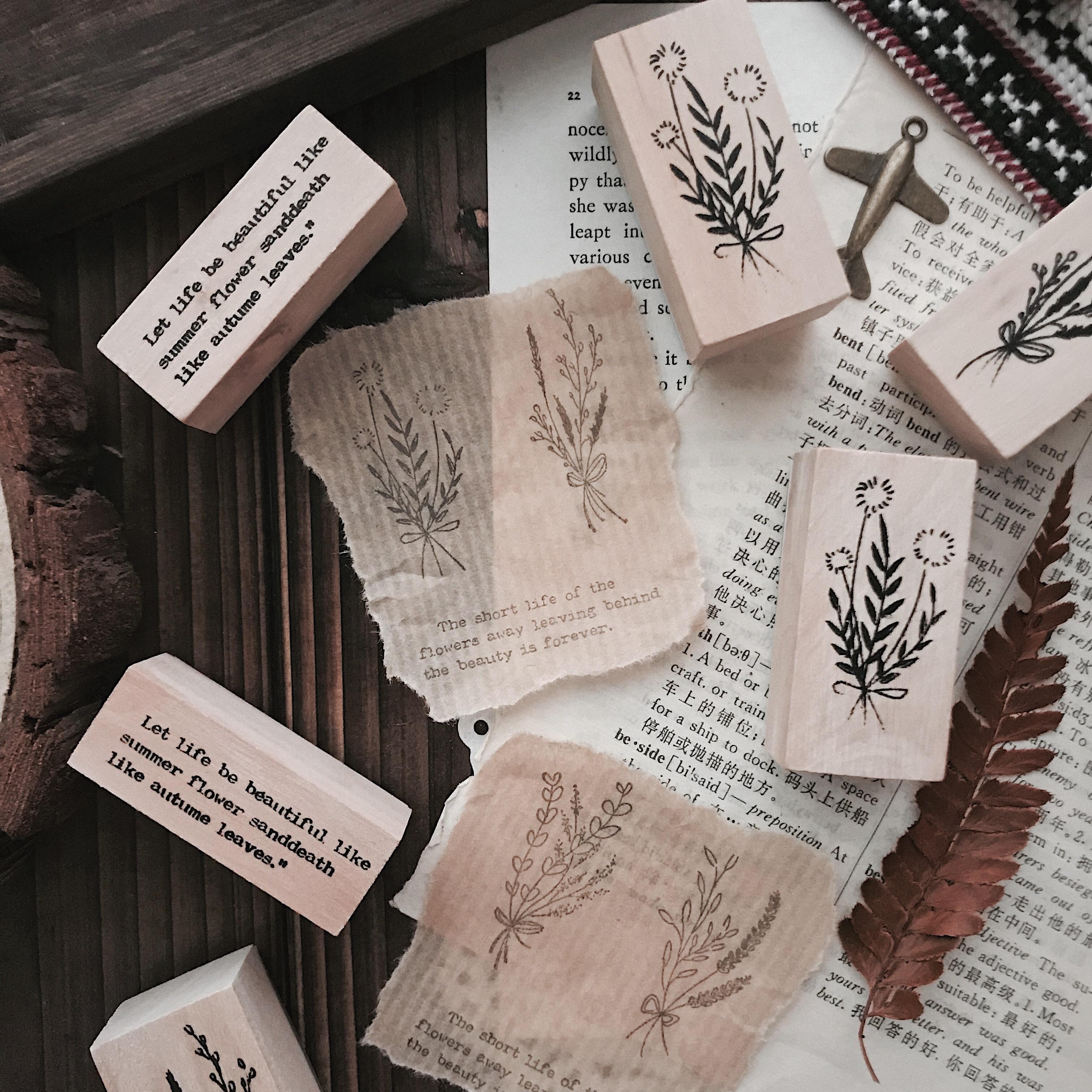 3Pcs/Bag Vintage Leaves Series Wooden Rubber Stamps For Scrapbooking Stationery DIY Scrapbooking Wooden Stamp