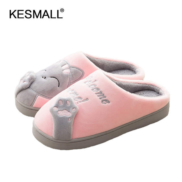 348ce3db37d0 placeholder Women Winter Home Slippers Cartoon Cat Home Shoes Non-slip Soft  Winter Warm Slippers Indoor