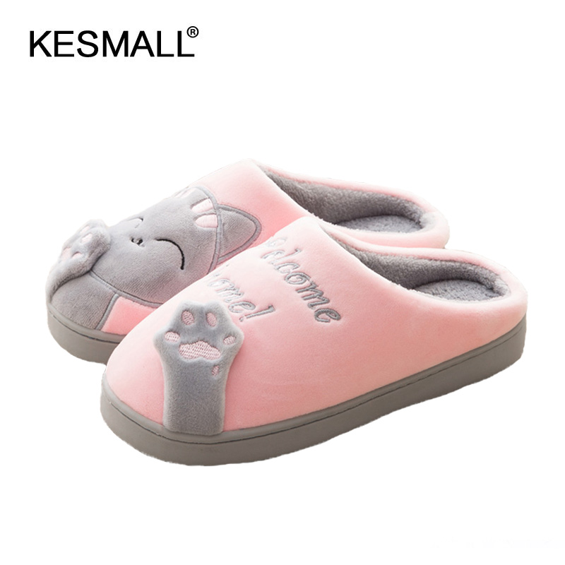 Women Winter Home Slippers Cartoon Cat Home Shoes Non-slip Soft Winter Warm Slippers Indoor Bedroom Loves Couple Floor Shoes image