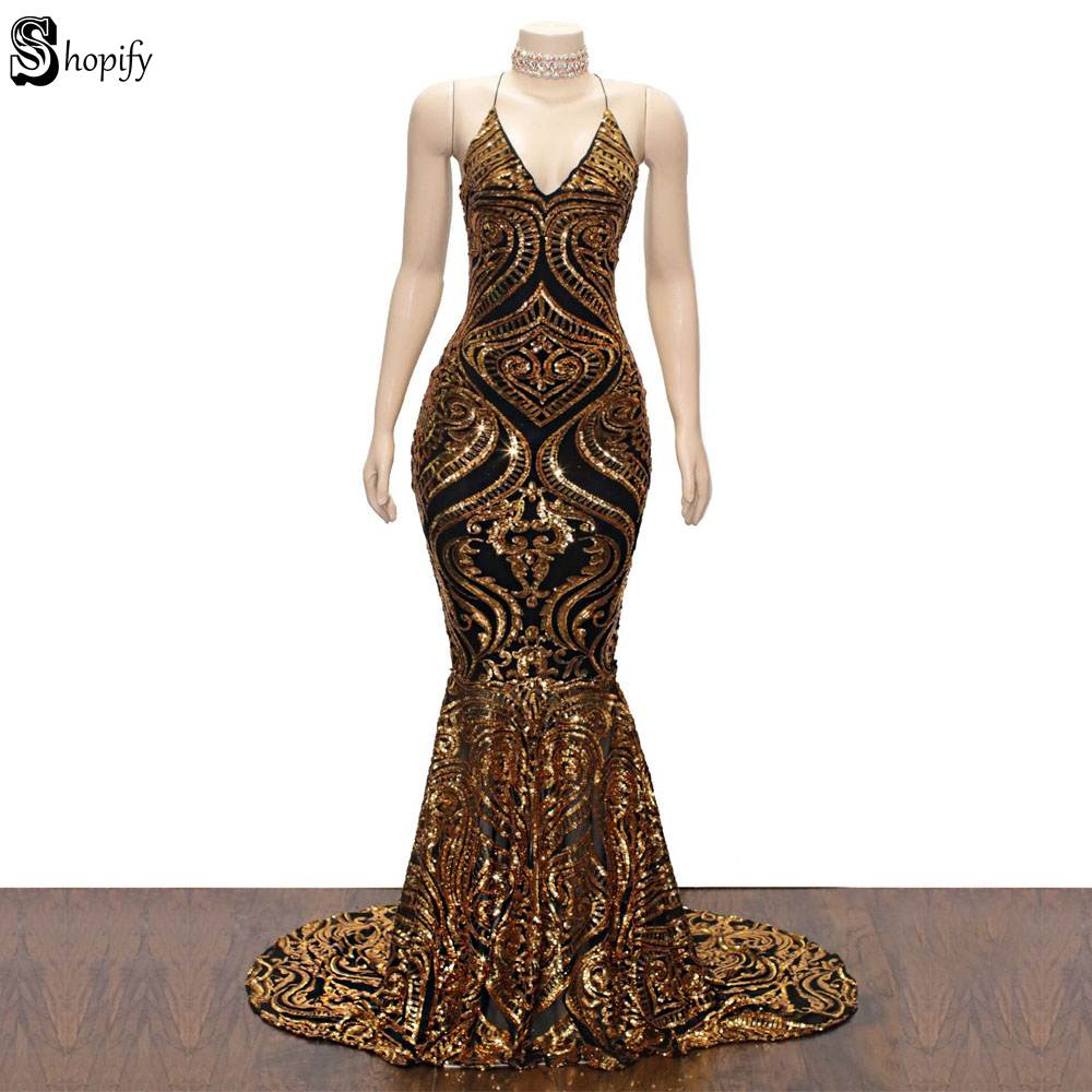 Long Sparkly   Prom     Dresses   2019 Sexy Mermaid Spaghetti Strap Backless Golden African Backless Ladies   Prom     Dress   Party