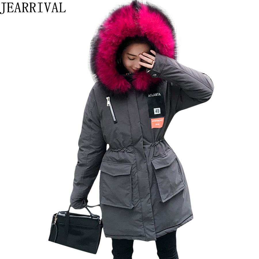 2017 New Winter Coat Women Long Parka Large Faux Fur Collar Zipper Hooded Winter Jacket Cotton Padded Thick Warm Coats Outwear lovely starfish canvas handbag preppy school bag for girls women s handbags cute bags