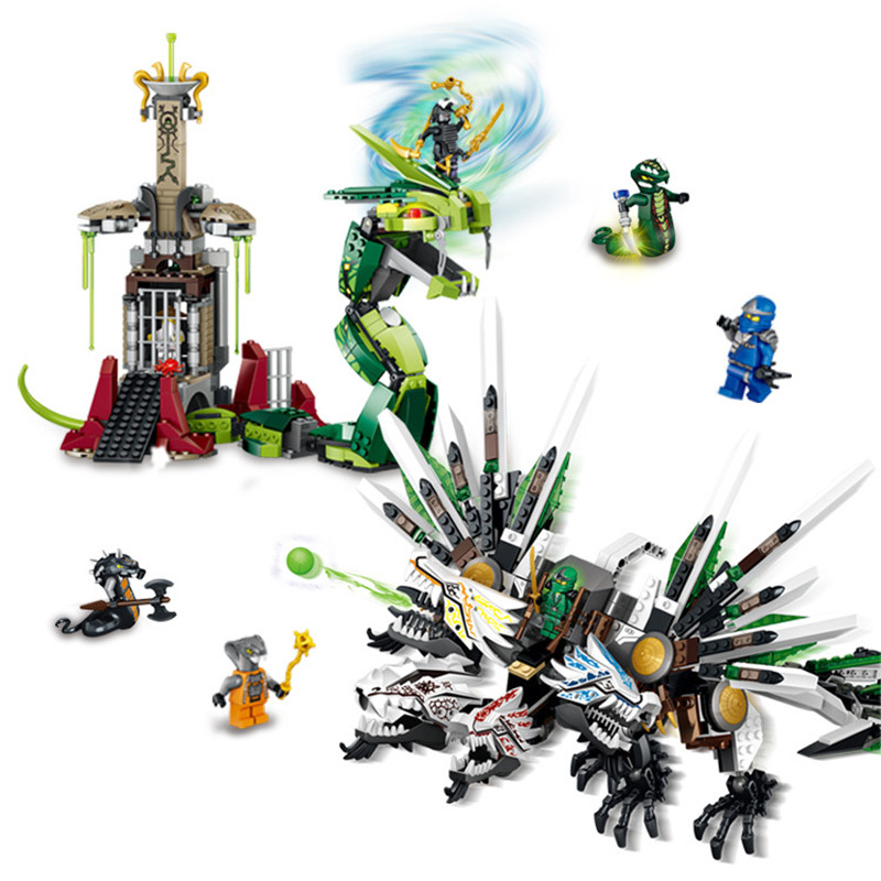 LOZ 959pcs Ninja Armageddon Epic Dragon Battle Building Block Sets DIY Toys for Children Compatible legoingly ninjago compatible with lego ninjago 9450 lele 79132 959pcs blocks ninjago figure epic dragon battle toys for children building blocks