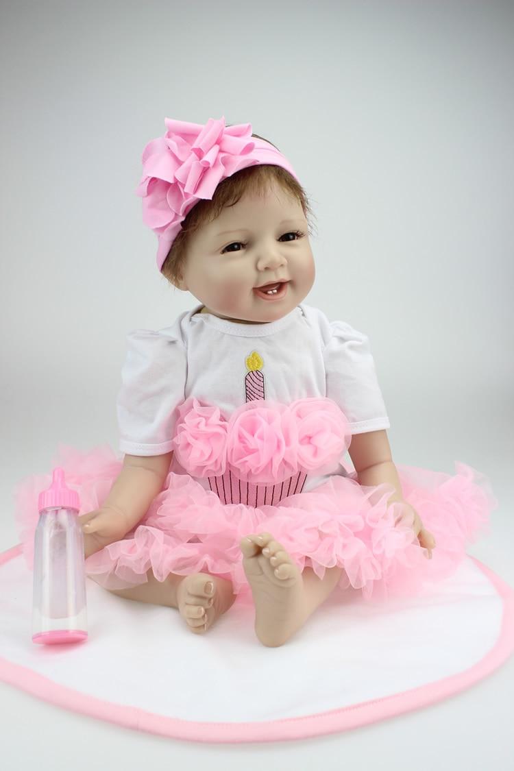 NPK 55 CM suave real táctil realista bebé muñeca reborn moda muñeca regalo de navidad regalo de año nuevo hecho a mano pelo sonrisa bebé-in Muñecas from Juguetes y pasatiempos    3