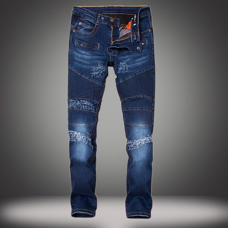 ФОТО New Luxury Patchwork Ripped Knee Hole Zipped Biker Jeans Men Brand Slim Destroyed Torn Jean Pants Multi-pocket Motorcycle Jeans