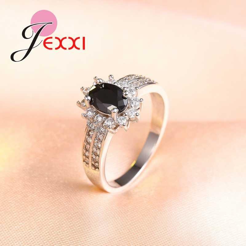 Luxe noir Qnyx 925 en argent Sterling Double bague pour les femmes avec pavé Micro AAA cubique Zircon bijoux en gros