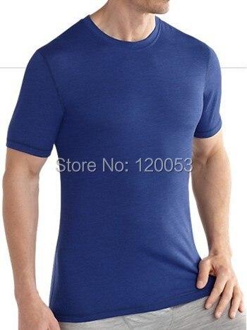 אמצע משקל 180GSM Mens 100% צמר מרינו T חולצה קצר שרוול, Mens צמר מרינו קצר שרוול Baselayer, 5 צבעים, אמריקאי Fit