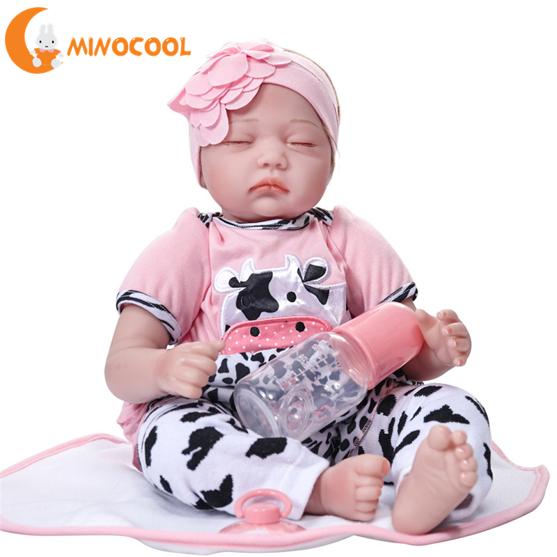 Reborn Dolls with Soft Silicone Girl Body Newborn Baby Dolls Toys Sleeping Newborn Babies Bebe Reborn Realista Doll Best Gift reikirc cute bebe reborn doll cotton body silicone reborn baby dolls lifelike newborn baby gift babies toys
