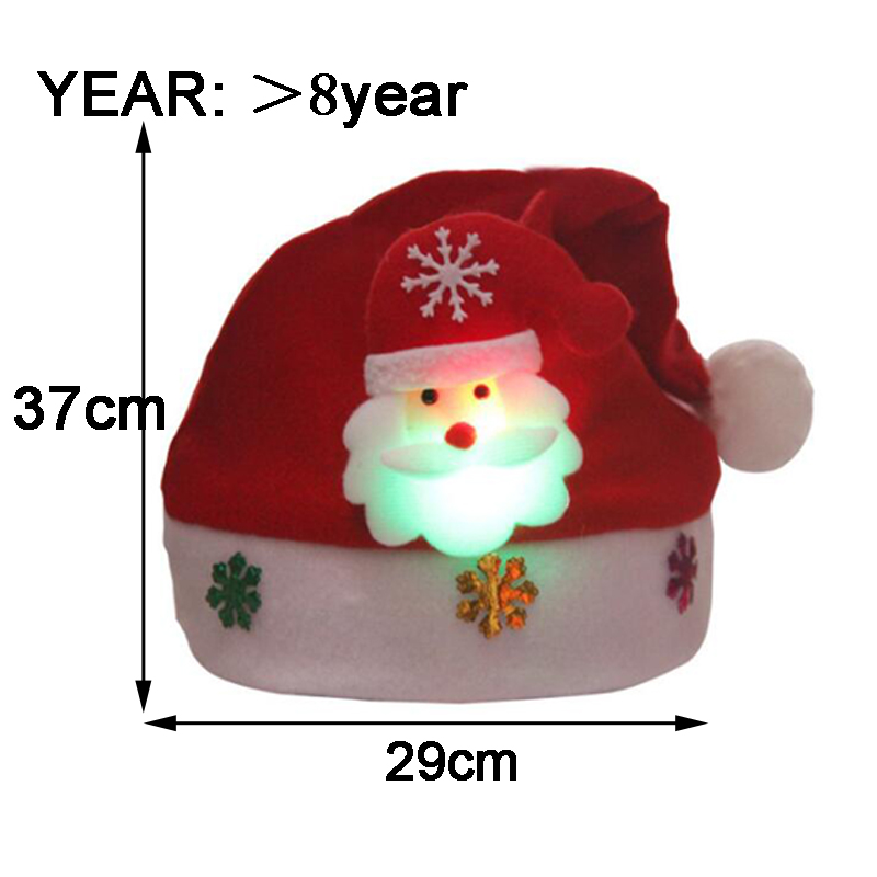 Christmas Hats Kids And Adult LEDLight UpLuminous Flash Santa Hats Christmas Party Decoration Christmas Decorations For Home (2)