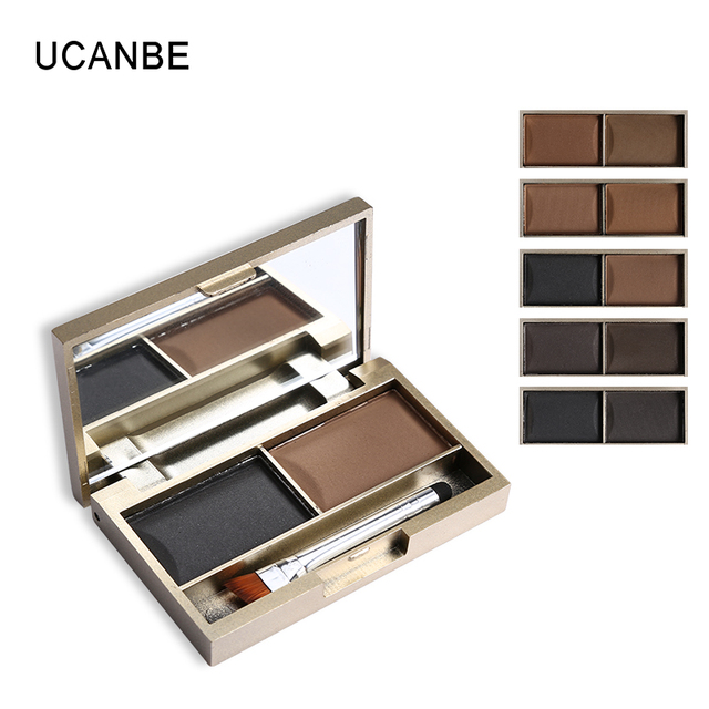 Brand 2 Color Eyebrow Powder Makeup Palette Waterproof Natural Brown Eye Brow Enhancers Shadow Cosmetic Kit with Brush Mirror 2
