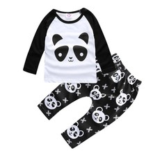 2017 Baby boy clothes autumn kids clothes sets t-shirt+pants suit infant clothing set panda Printed