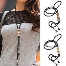 2016  Fashions  Women's Dress Sweater Necklace Rhinestone Charm Pendant Long Black Chain Jewelry Gift  Gifts  9TNR