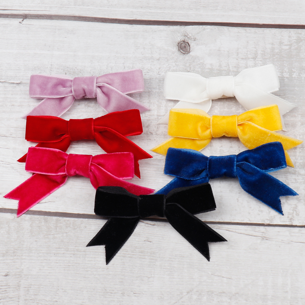 Ncmama Hair Accessories Hair Clips For Girls Velvet Hair Bows Kids 2 Pcs/lot 3
