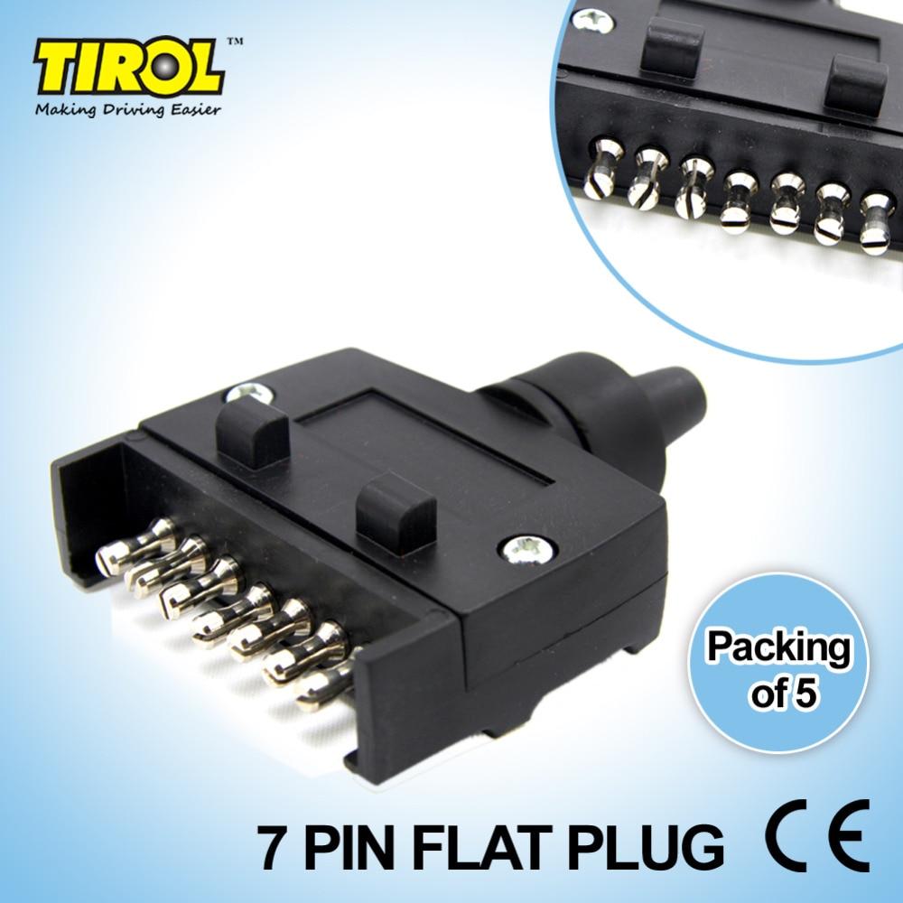 TIROL T21228d 5pcs/lot New 7 Pin Flat Trailer Plug Light Connector ...