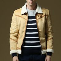 Winter Shearling Mens Faux Sheepskin Coat Flight Suede Jacket Men Lamb Wool Lining