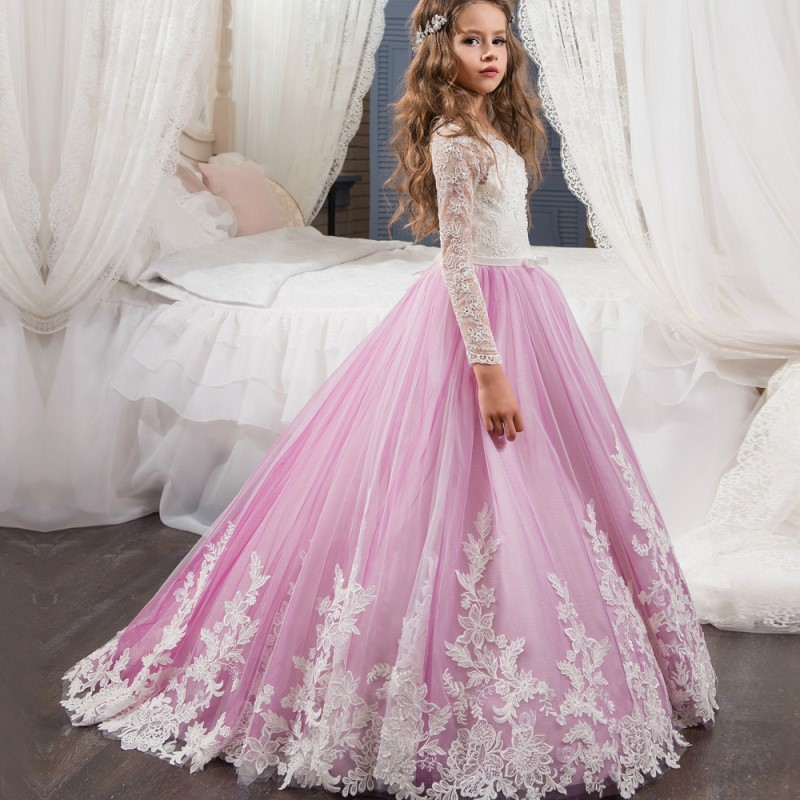 Flower Girls Dresses for Wedding Kids Pageant Dress Evening Gowns 2018 Lace Ball Gown Communion Dresses For Girls pink 8 years new dubai girl s pageant dresses crystals blue lace ball gown glamorous kids pageant dress flower girls gowns for wedding
