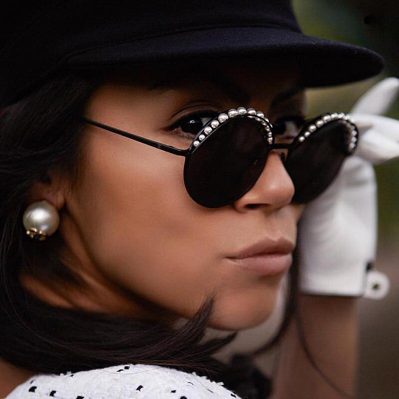 QPeClou Luxury Pearls Round Sunglasses Women Fashion Brand Mirror Sun Glasses Female 2018 New Eyewear Ladies Oculos UV400