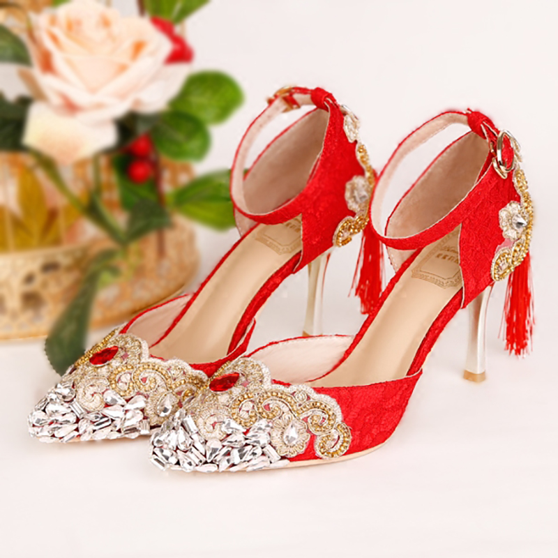 9cm High Heels Wedding Shoes Red Women Pumps Gold Crystal Lace Stiletto Ankle Strap Bridal Shoes Pointed Toe Party Ladies Shoes women s fashion gold lace dinner evening party pumps shoes plus sizes low high heels custom made bridal wedding shoes