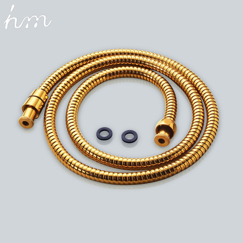 Hm Shower Hose Brass Nut Double Lock Bathroom Replacement Anti-Explosion Stainless Steel 1.5M Gold Anti-Twist Plumbing Hose