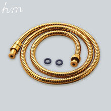 hm Shower Hose Brass Nut Double Lock Bathroom Replacement Anti-Explosion Stainless Steel 1.5M Gold Anti-Twist Plumbing