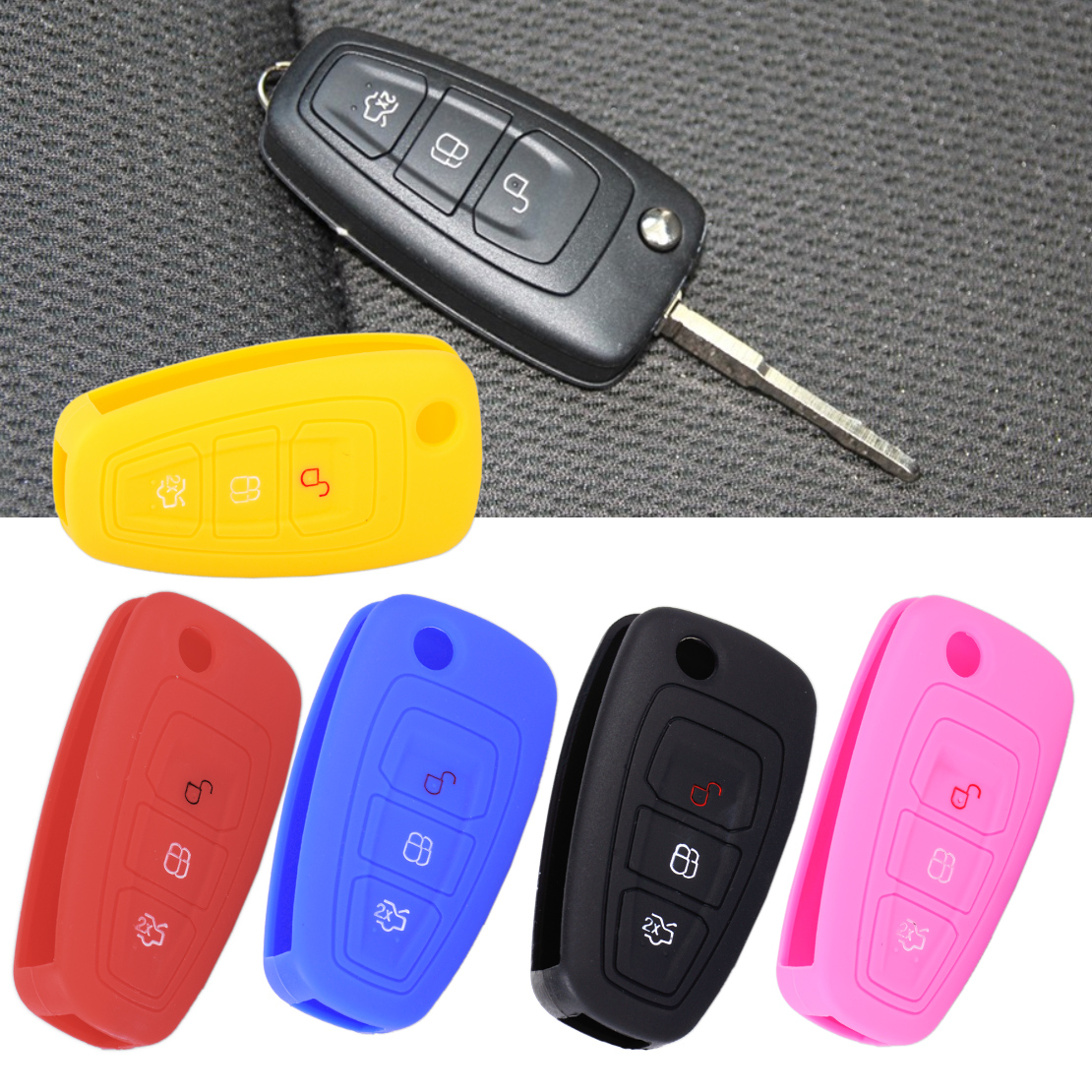 CITALL 3 Buttons Silicone Flip Key Cover Car Remote Case Fob Shell for Ford Focus MK3 Mondeo Fiesta Escape Kuga Ranger Ecosport 3d creative chrome steering wheel sticker for ford fiesta ecosport kuga escape focus mondeo new drop shipping