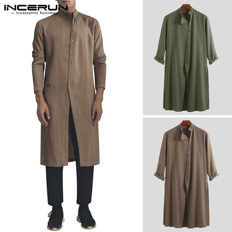 INCERUN 2020 Cotton Vintage Men Shirt Stand Collar Long Sleeve Button Long Shirts Men Pakistani Muslim Clothes Indian Tops