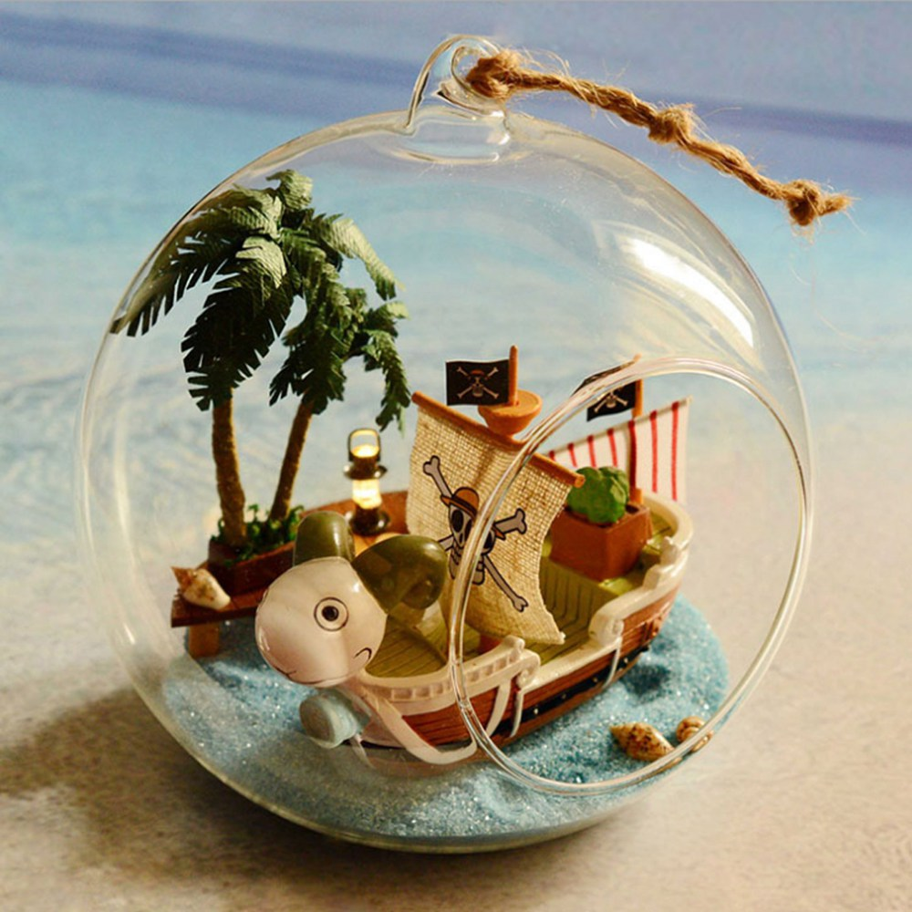 diy wooden one piece pirate ship sailboat 3d miniature toy doll house voice control led light aliexpresscom buy 112 diy miniature doll house