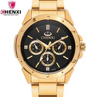 Top Fashion Brand Luxury CHENXI Watches Men Golden Business Casual Quartz Wristwatch Waterproof Man Relogio Masculino