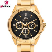 Купить с кэшбэком Top Fashion Brand Luxury CHENXI Watches Men Golden Business Casual Quartz Wristwatch Waterproof Man Relogio Masculino PENGNATATE