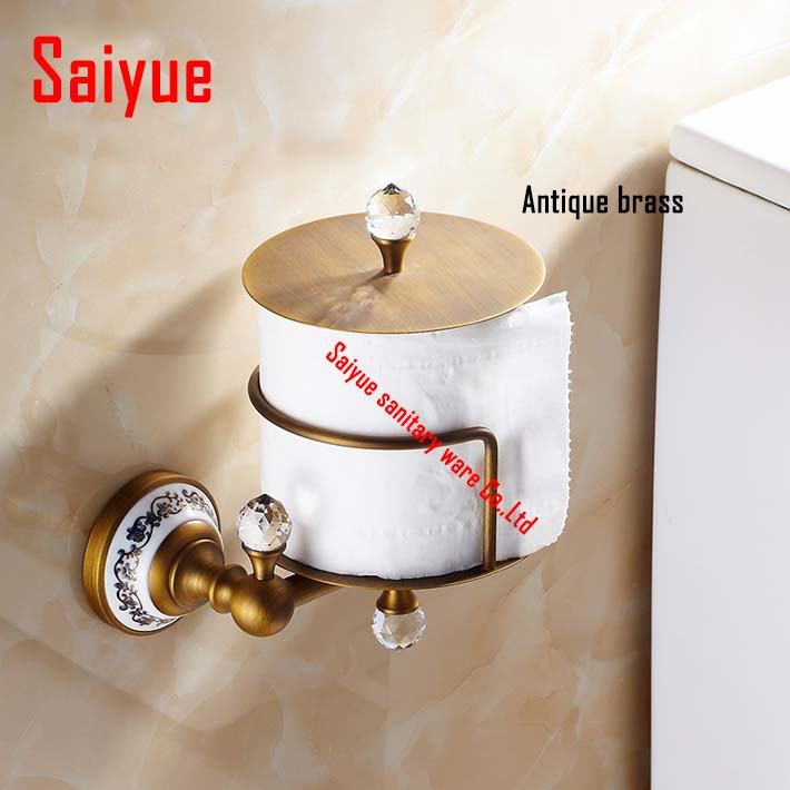 Wall Mounted Upright WC Toilet Paper Holder  Brass crystal ceramic Roll Tissue Bracket box bathroom accessories diamond ceramic base golden brass bathroom toilet paper holder wall mounted