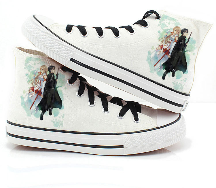 BOOCRE Sword Art Online Fashion Shoes Canvas Casual High Top Star Flat Kirito Asuna Printing Yukine Leisure Anime Cosplay Shoese in Shoes from Novelty Special Use