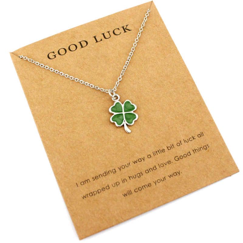 Lucky Four Leaf Clover Mermaid Unicorn Pendants Necklaces Women Men Girl Unisex Fashion Jewelry Party Birthday Beach Ocean Gift