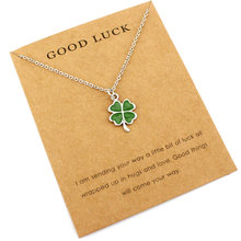 Lucky Four Leaf Clover Mermaid Unicorn Pendants Necklaces Women Men Girl Unisex Fashion Jewelry Party Birthday Beach Ocean Gift(China)