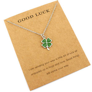 Necklaces Women Unicorn-Pendants Gift Fashion Jewelry Mermaid Birthday Girl Lucky Four-Leaf clover