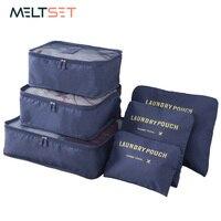 6 יח'\סט נסיעות ארגונית בגדי אחסון תיק גדול קיבולת בגדים מסודר נסיעות פאוץ שמירת כביסה מארגן אחסון תיק
