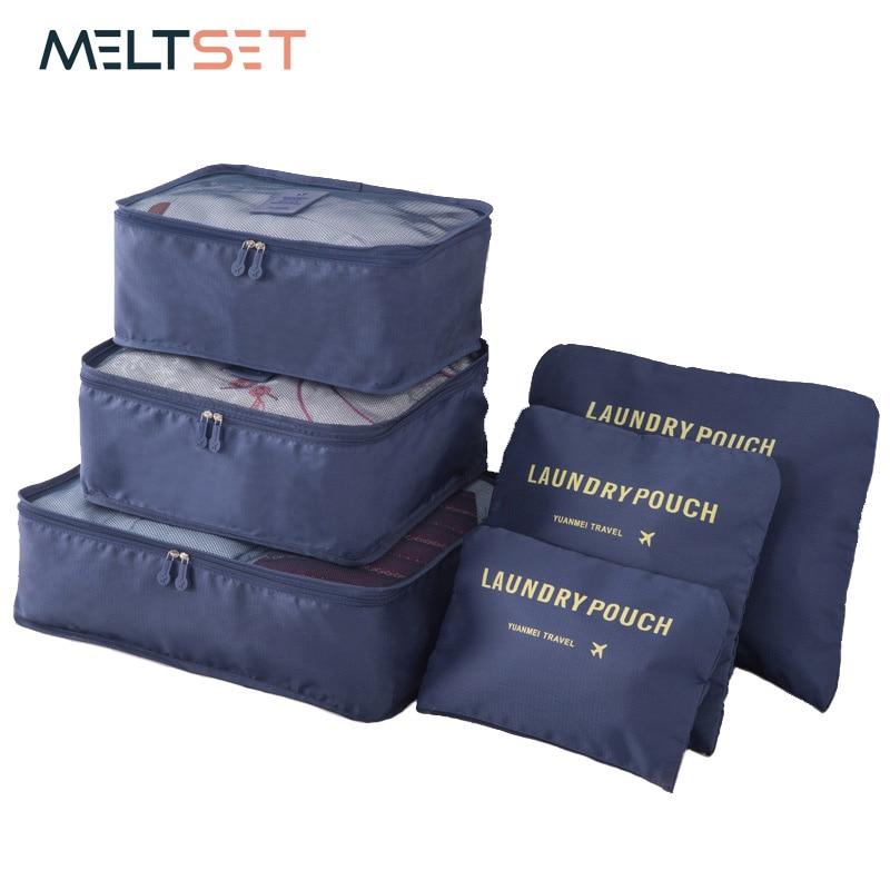 6pcs/set Travel Organizer Clothes Storage Bag Large Capacity Clothes Tidy Travel Pouch Luggage Organizer Laundry Storage Bag