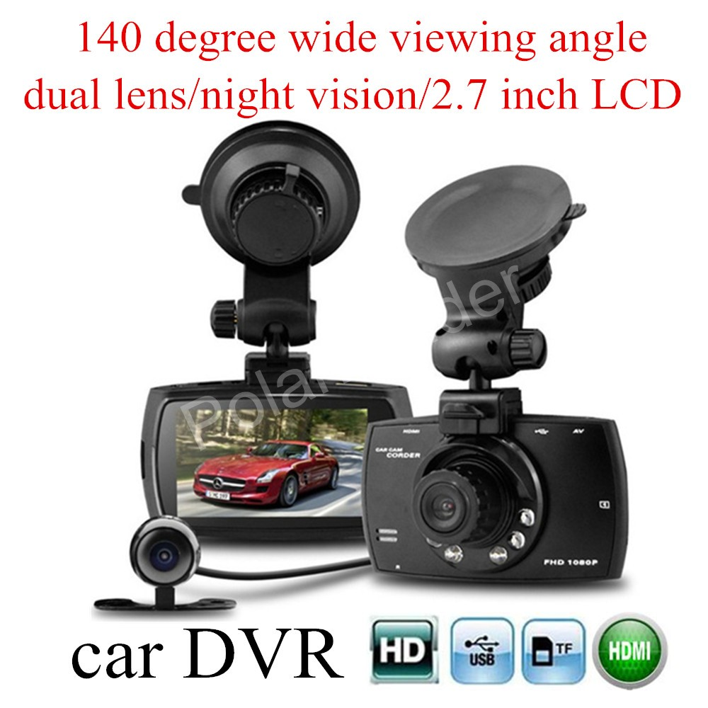 Motion camera 2.7 inch LCD Car DVR G30 Full HD Car DVR Recorder With Loop Recording Motion Detection Night Vision dual lens
