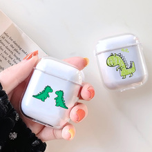 Transparent Luxury Earphone Cases  For Airpods Case Cute Dinosaur Cartoon Apple Cover