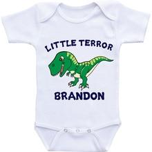 DERMSPE Unisex Top Quality Baby Rompers Short Sleeve Little Terror Brandon Cotton 0-24M Novel Newborn Boys&Girls Clothes
