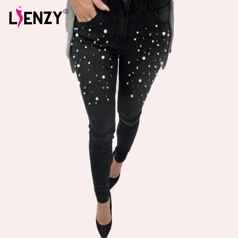 96556b2c80e Achiewell Pearl Pencil Jeans for Women Gradient Meddle Waist Trousers Female  Bottom Denim Jeans Plus Size Cotton Pants Jeans