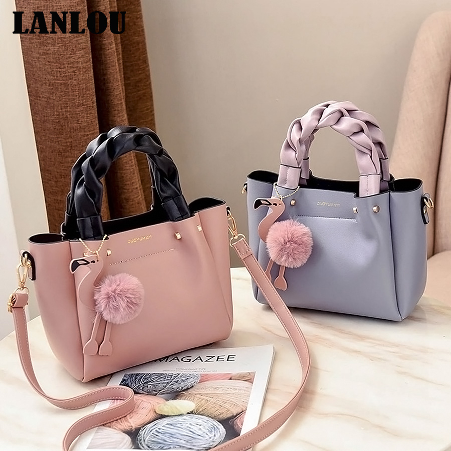 LANLOU Hairball Flamingo Shoulder Bags Hot New Luxury Handbags Women Bags Designer Handbags Bags For Women 2019 Ladies Crossbody